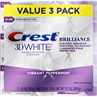Crest 3D White Brilliance Vibrant Peppermint Toothpaste, 4.1 Ounce Tube (3PACK)