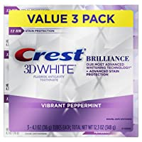 Crest 3D White Brilliance Vibrant Peppermint Teeth Whitening Toothpaste, 4.1 oz,...