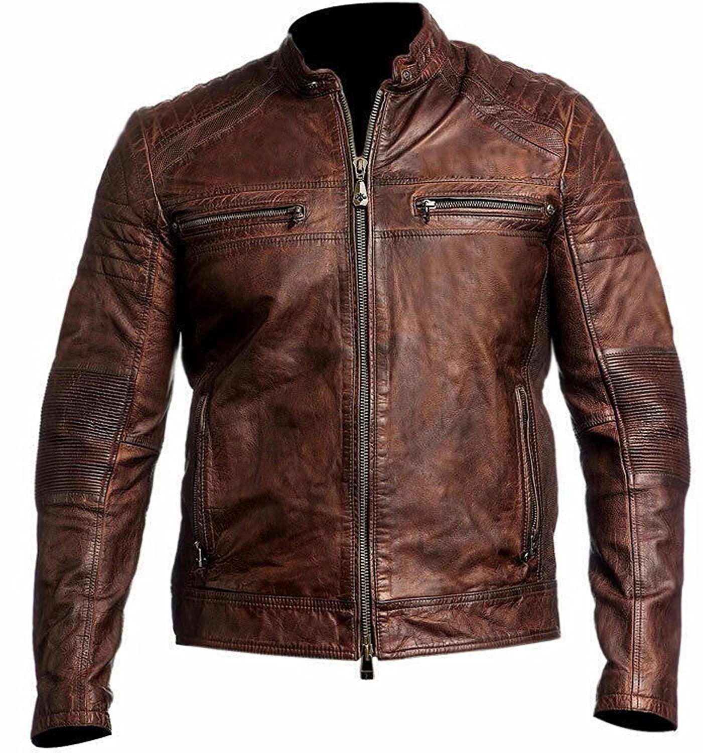 Mens Biker Vintage Motorcycle Cafe Racer Distressed Brown Leather Jacket