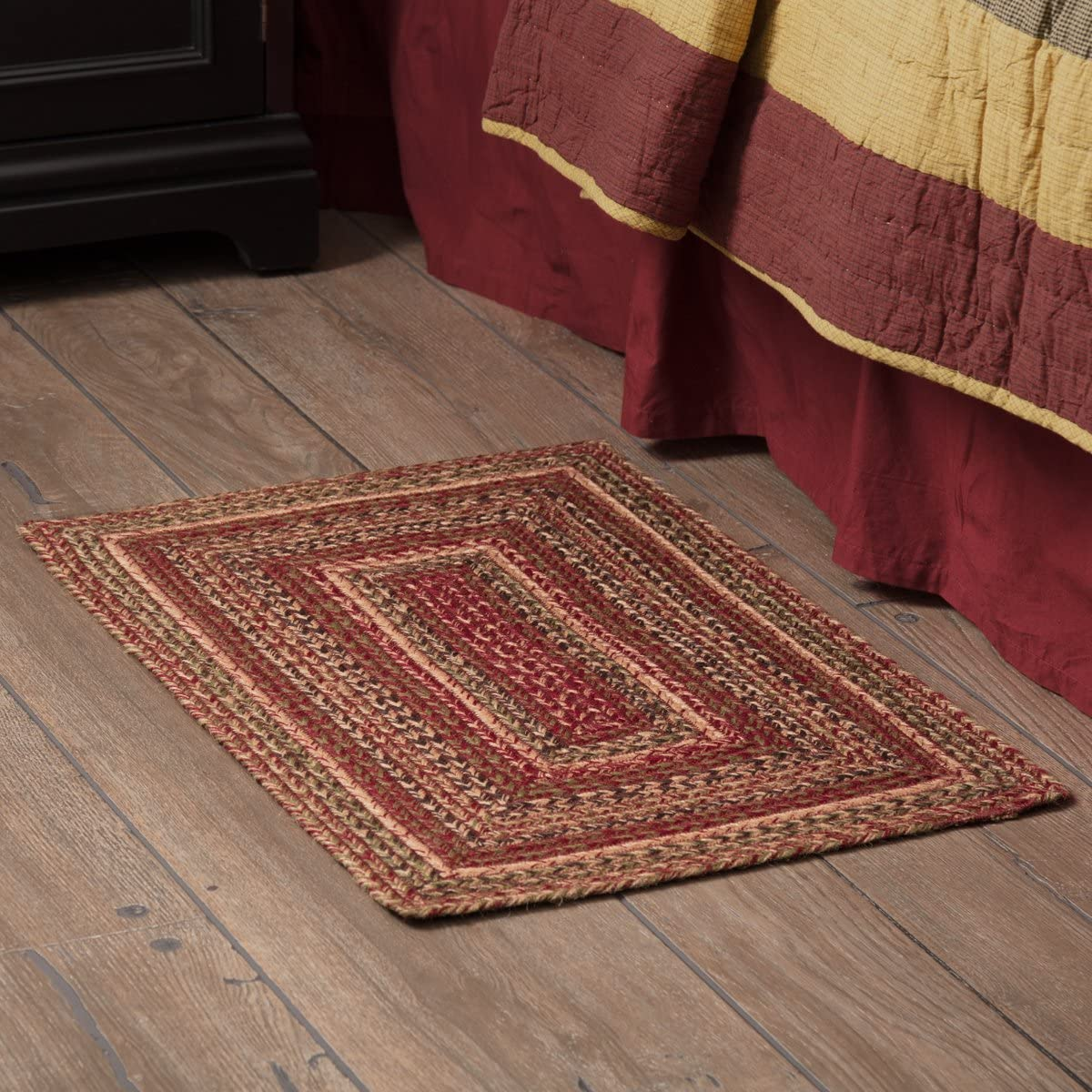 VHC Brands 45598 Burgundy Red Primitive Country Flooring Cider Mill Jute Rug, 20×30