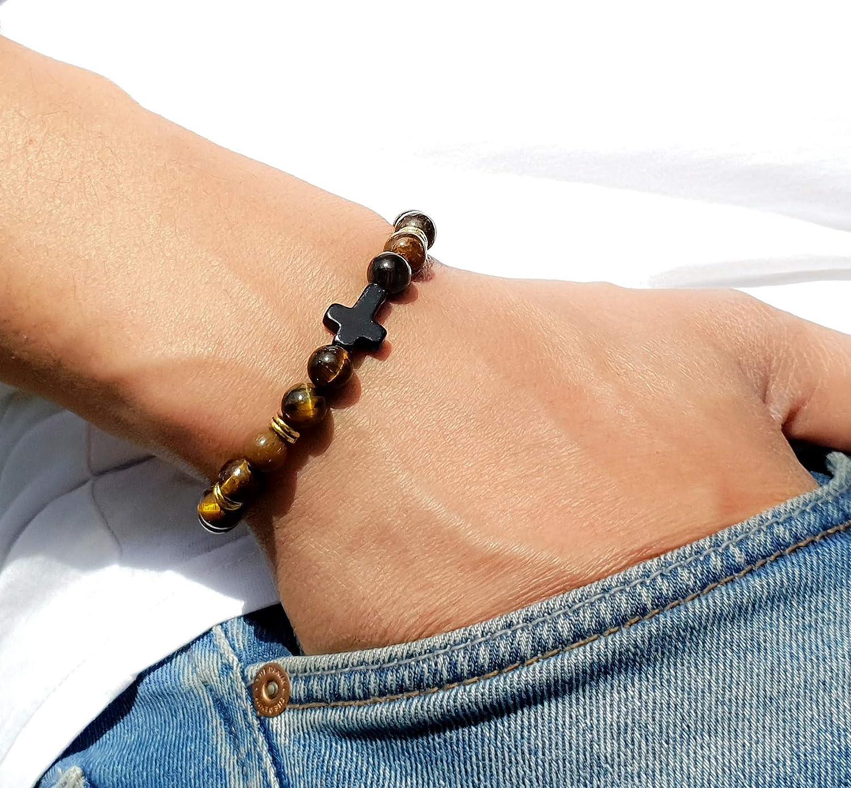 Energiearmband GOOD.designs Chakra Natursteinarmband aus Onyx und Lavastein