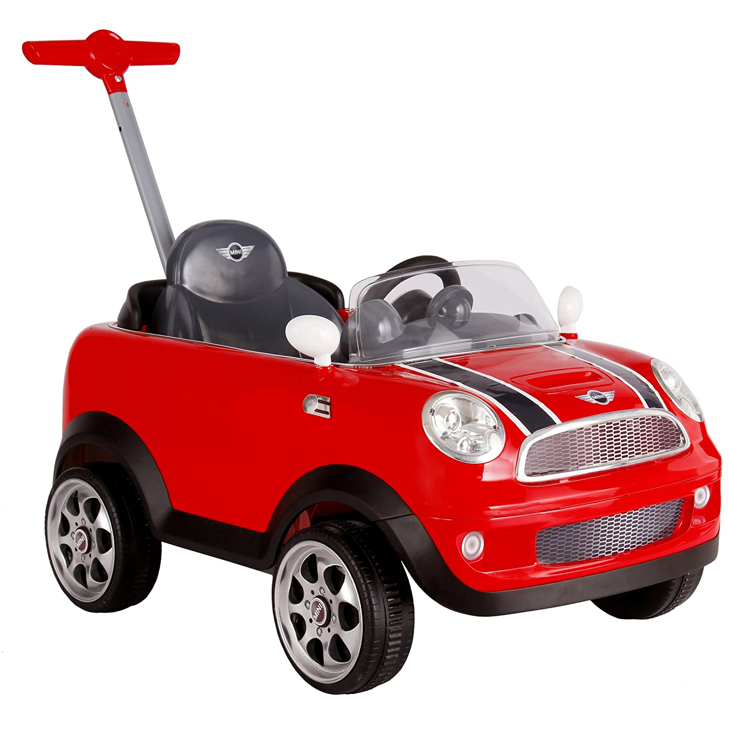ROLLPLAY Push Car with Adjustable Footrest, For Children 1 Year and Older, Up to 20 kg, MINI Cooper, Red 42513