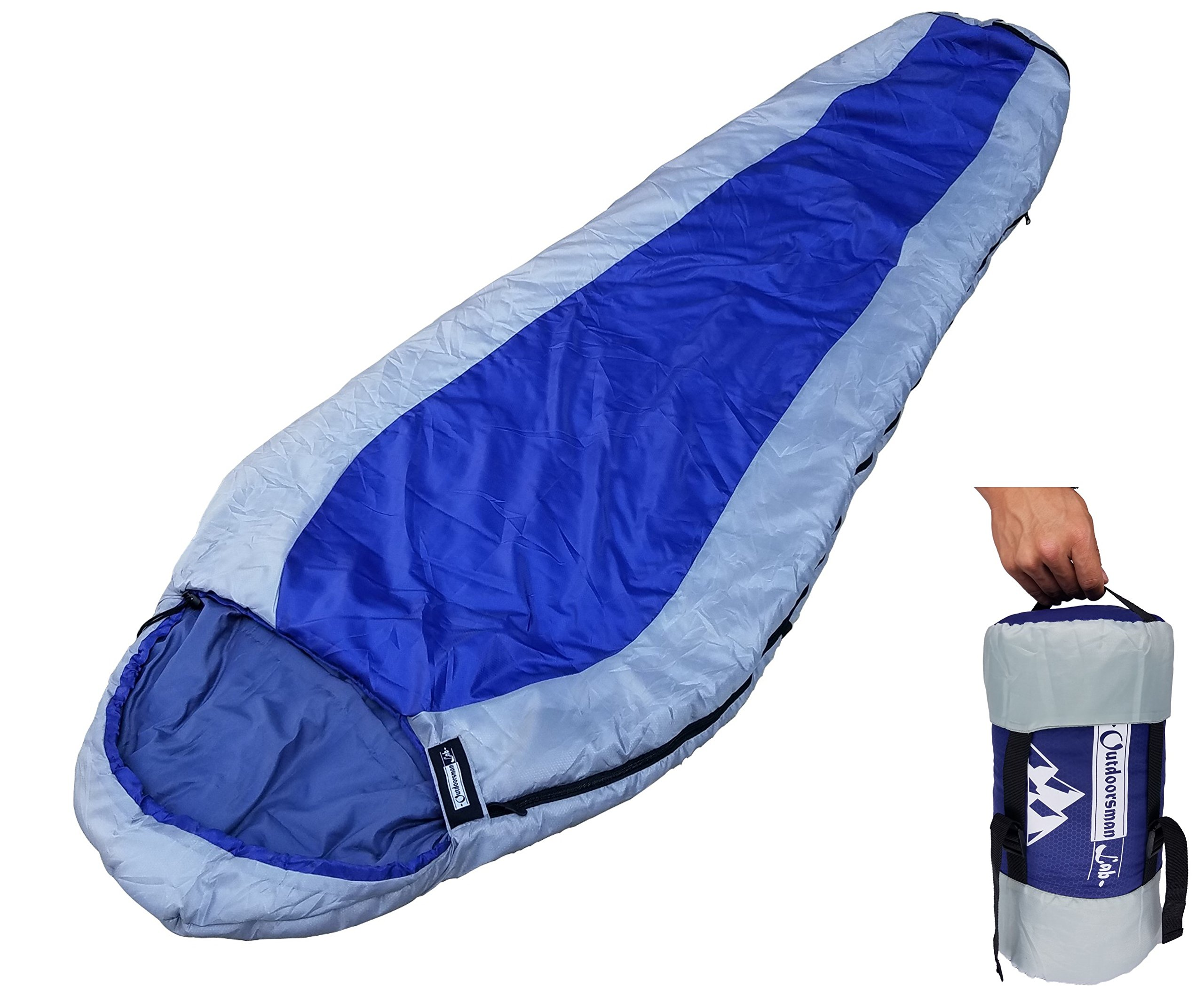 Outdoorsman Lab Mummy Sleeping Bag for Adults & Kids | Ultralight Backpacking & Camping Sleeping Bag | 3 Season 29F, Water Resistant, Compact & Lightweight, Includes Compression Sack 3