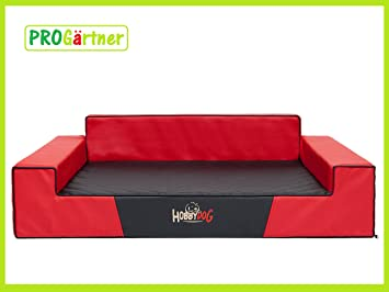 Cama para perros Glamour XL 100 x 68 cm rojo con Negro (5) de piel sintética, codura-poliamida Perros sofá: Amazon.es: Productos para mascotas