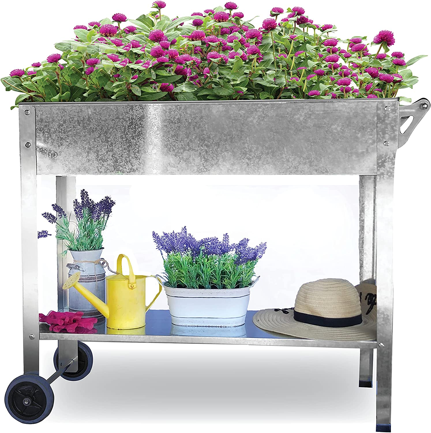 BACKYARD EXPRESSIONS PATIO · HOME · GARDEN 911215 Mobile Raised Bed, Grey