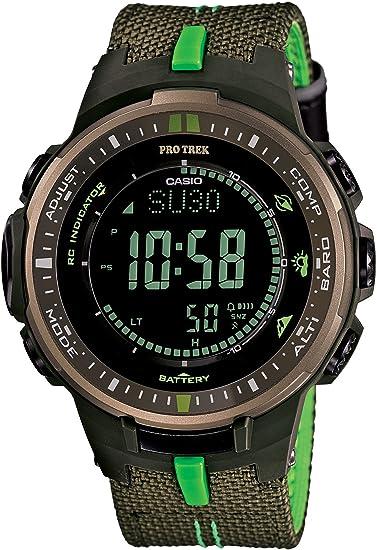 [カシオ] 腕時計 プロトレック トリプルセンサーVer.3搭載 世界6局電波対応ソーラーアウトドアギア レザークロスバンドモデル PRW-3000B-3JF グリーン
