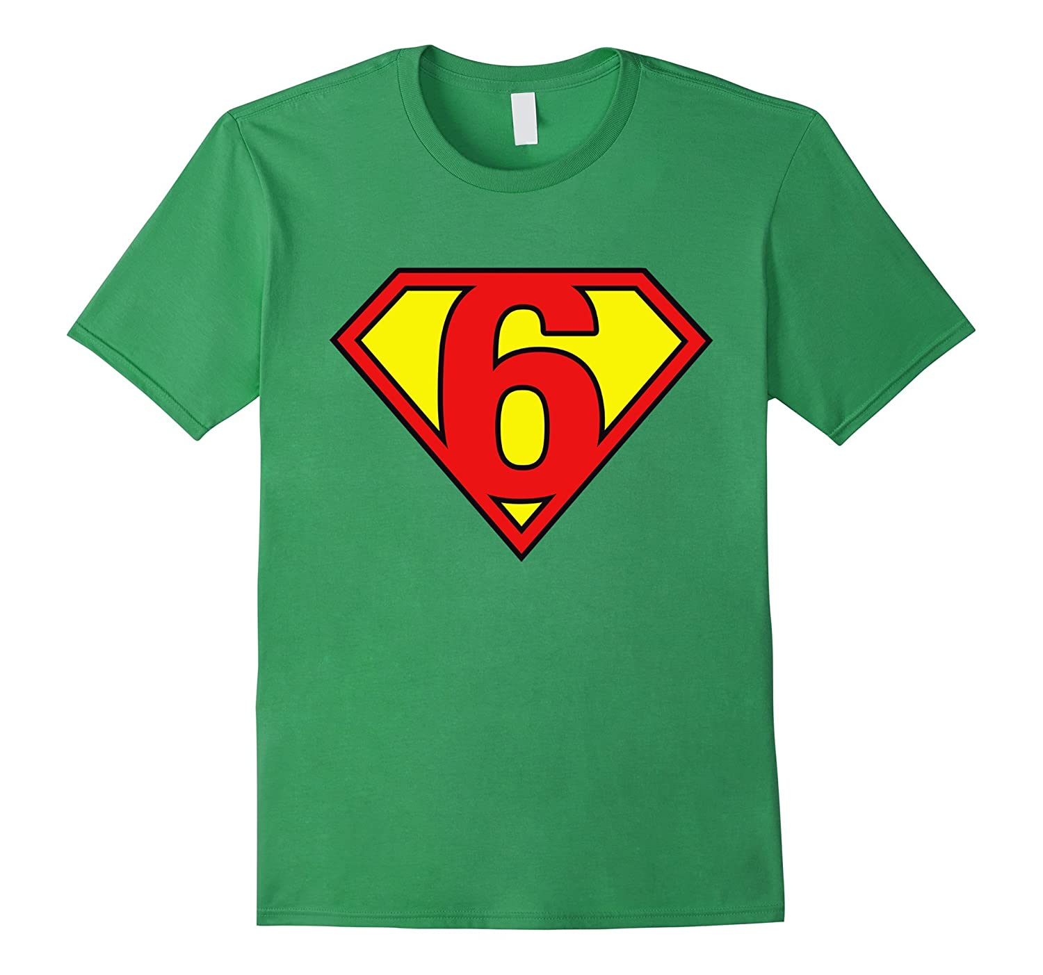 Super Hero 6th Birthday Tshirt Gift 6 Years Old Kid Boy Girl TD
