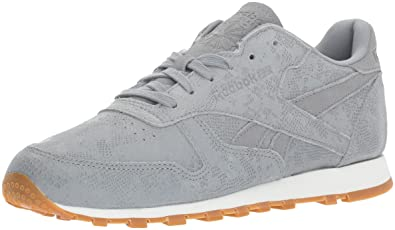 dfc27510993 Reebok Women s CL LTHR Clean Exotic Print Track Shoe Flint Grey Chalk Gum  6.5