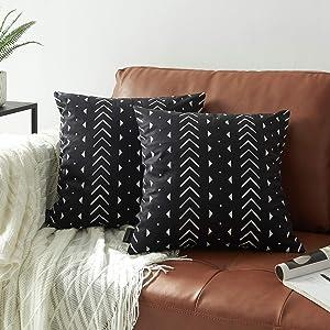 "Nestinco Set of 2 Boho Aztec Geometric Tribal Print Pillow Covers Black and White Decorative Throw Pillow Covers 18"" x 18"" for Boho Decor"