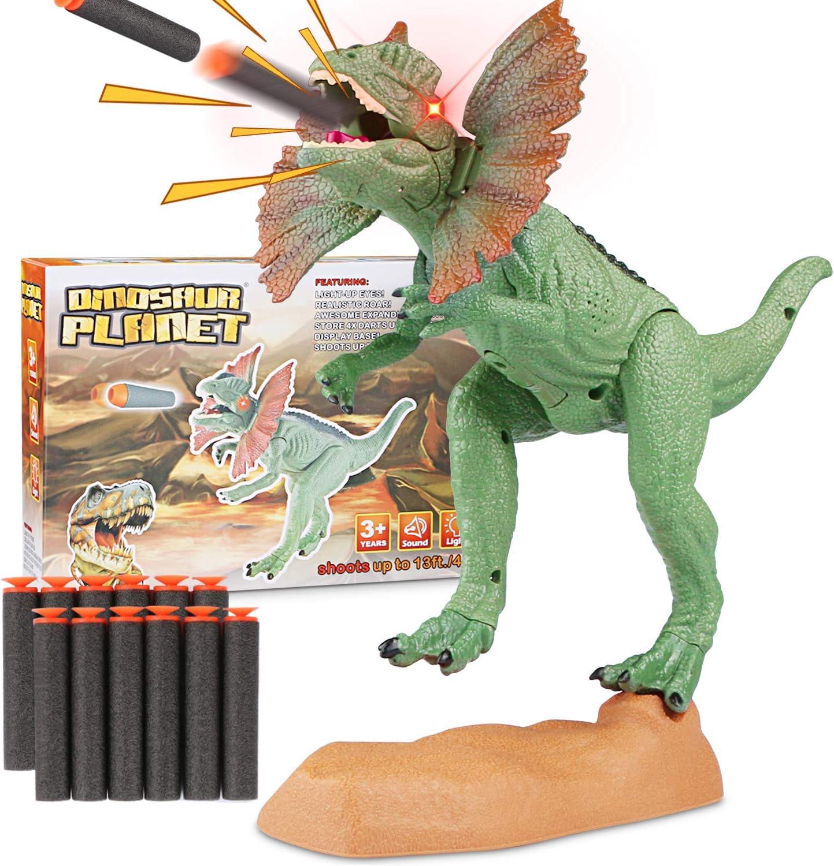 WOSTOO Juego de Dinosaurios, Catapult Boca Dinosaur Toy Realistic Jurassic Dinosaur Green con Ojos Brillantes, Sonidos y para niños pequeños Niños niñas
