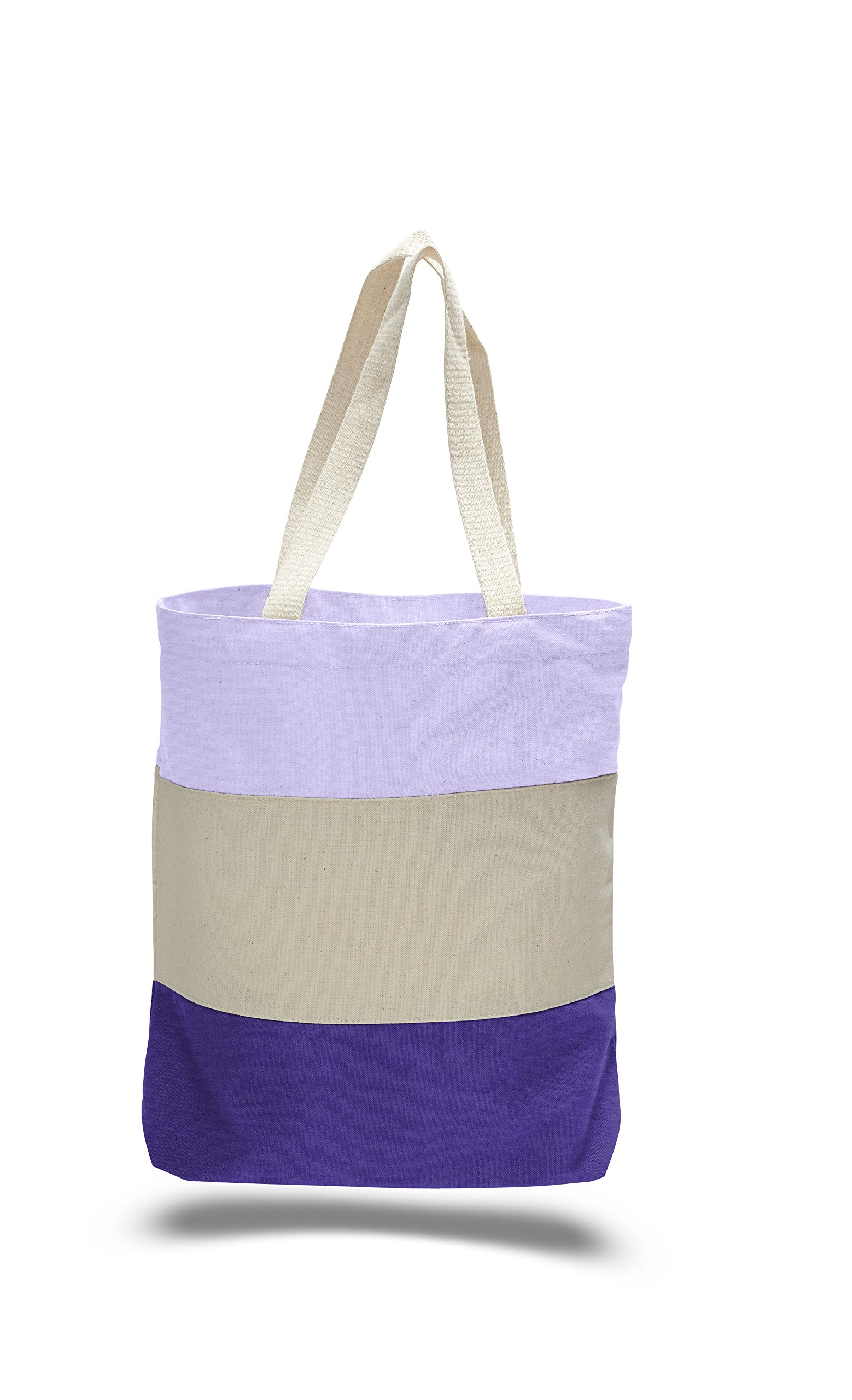 Set of 2 - Fancy Street Style Canvas Shoulder Bags, Reusable Tote Bags, Beach Bags by BagzDepot (Purple)