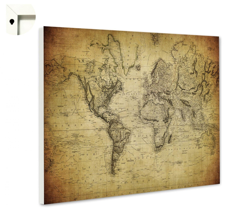 Magnettafel Pinnwand mit Motiv Weltkarte Antik Gr/ö/ße 60 x 40 cm