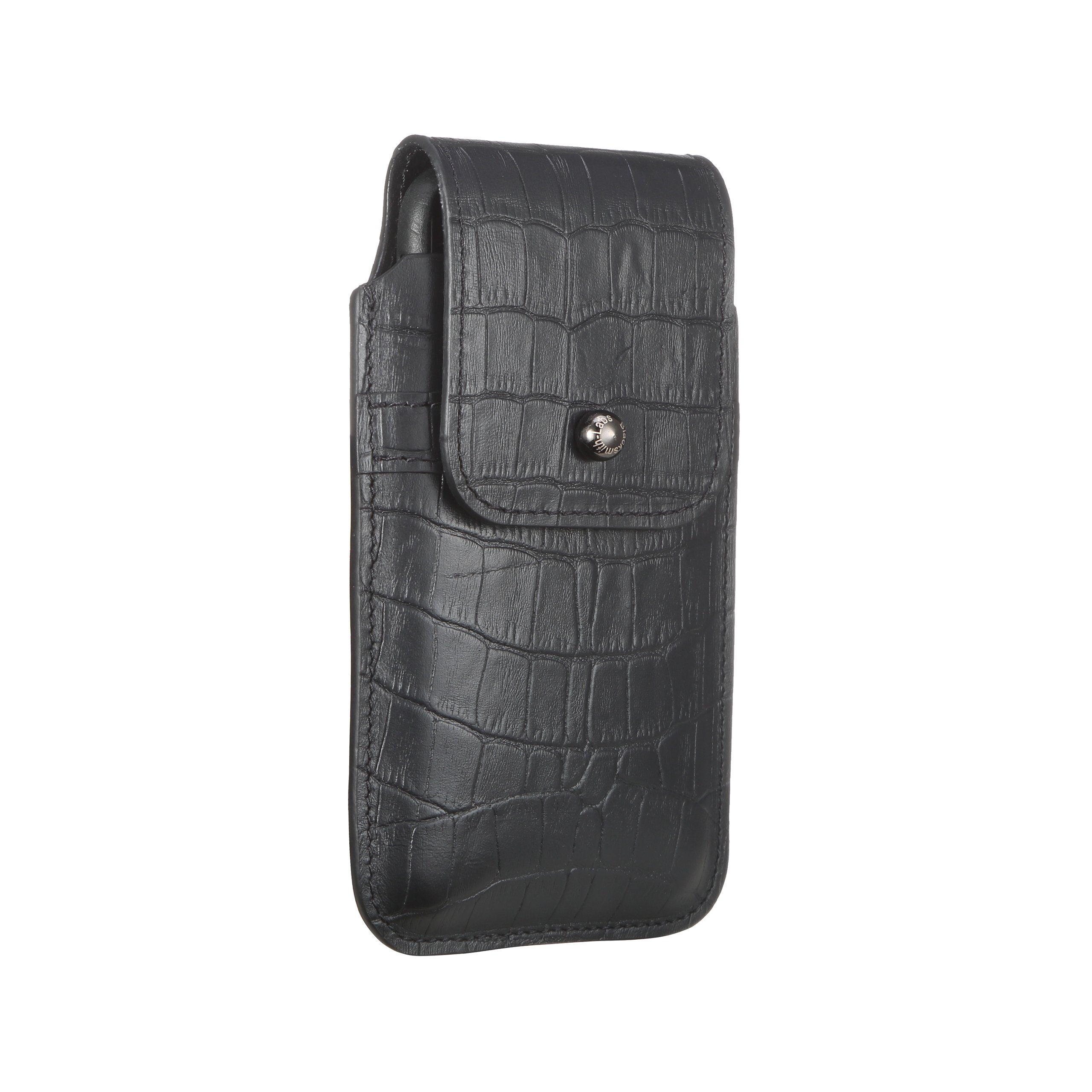 Blacksmith-Labs Barrett 2017 Premium Genuine Leather Swivel Belt Clip Holster for Apple iPhone X for use with no cases or covers - Black Croc Embossed Cowhide/Gunmetal Belt Clip