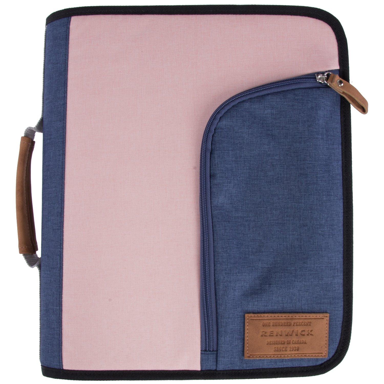 Renwick 3 Ring Binder Portfolio Organizer with Tablet Sleeve (Pink/Purple) by Renwick
