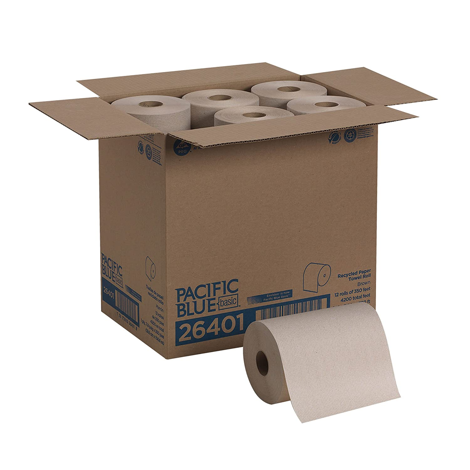 Renewed 26601 Pacific Blue Basic Recycled Paper Towel Rolls White 6 Rolls Per Case previously branded Envision 800 Feet Per Roll by GP PRO Georgia-Pacific