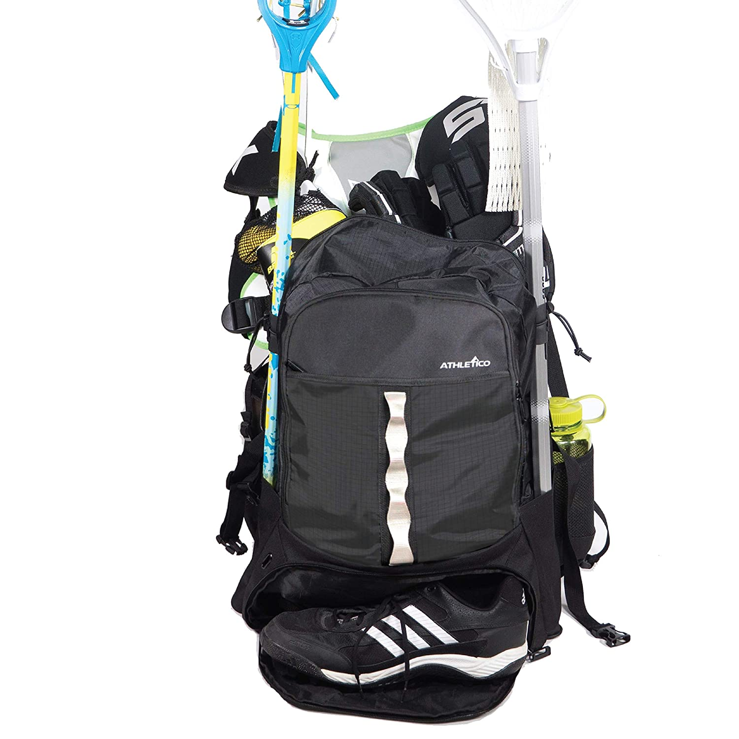 Athletico Lacrosse Bag - Extra Large Lacrosse Backpack - Holds All Lacrosse or Field Hockey Equipment - Two Stick Holders and Separate Cleats Compartment
