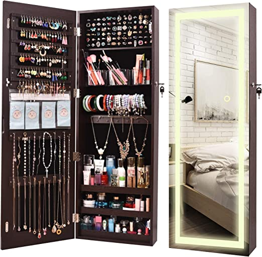 Amazon Com Aoou Jewelry Organizer Hanging Wall Mounted Jewelry Armoire Full Length Mirror Led Lock Door Jewelry Cabinet With Best Intelligent Switch Large Storage Capacity 3 Changeable Led Lights Colors Brown Home Improvement