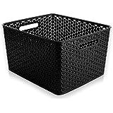 BINO T-Weave Woven Plastic Storage Basket, Large (Black)