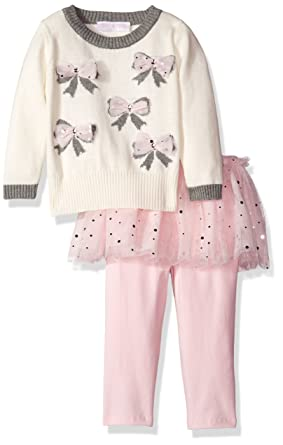 d5d84201d2fdd Bonnie Baby Baby-Girls Bow Intarsia Sweater To Mesh Skirt Skegging Set,  Ivory,