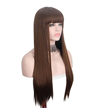 Mapofbeauty Long Loose Wave Light Dark Brown Black 75cm Women Wigs Cosplay Ladys Heat Resistant Synthetic Full Hair Always Buy Good Hair Extensions & Wigs