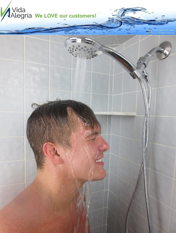 Brushed Nickel Holder Vida Alegria H5+ 2.5GPM Handheld Shower Head with Steel Hose 5 Sprays