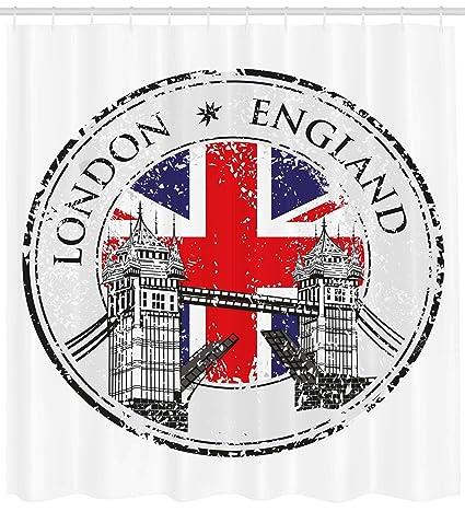 Ambesonne British Shower Curtain London England Grunge Stamp With Flag Nostalgic National Graphic Fabric