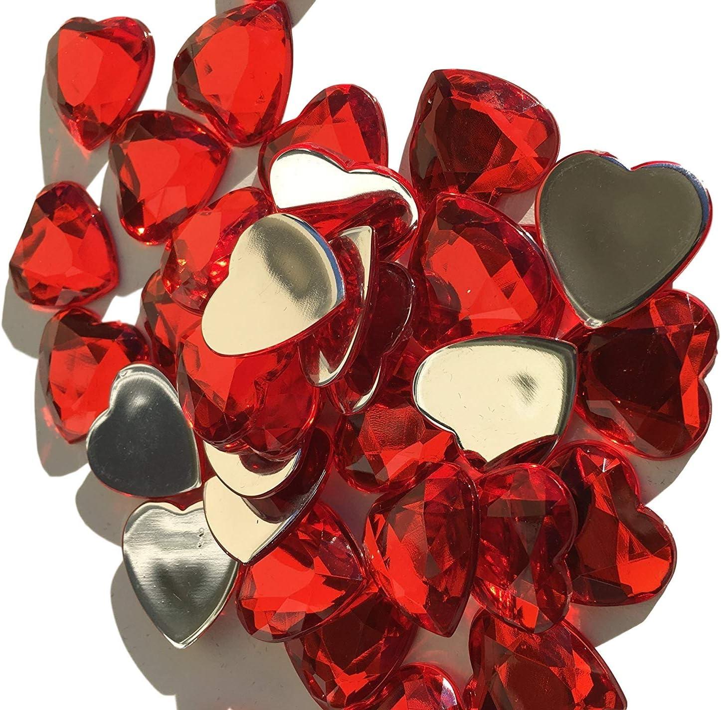 120 pcs brillante pedrería de cristal decorativa de corazón de 20 mm de colour rojo para Manualidades Gltzersteine piedras preciosas piedras brillantes para decorar de la decoración de amor y de cryst