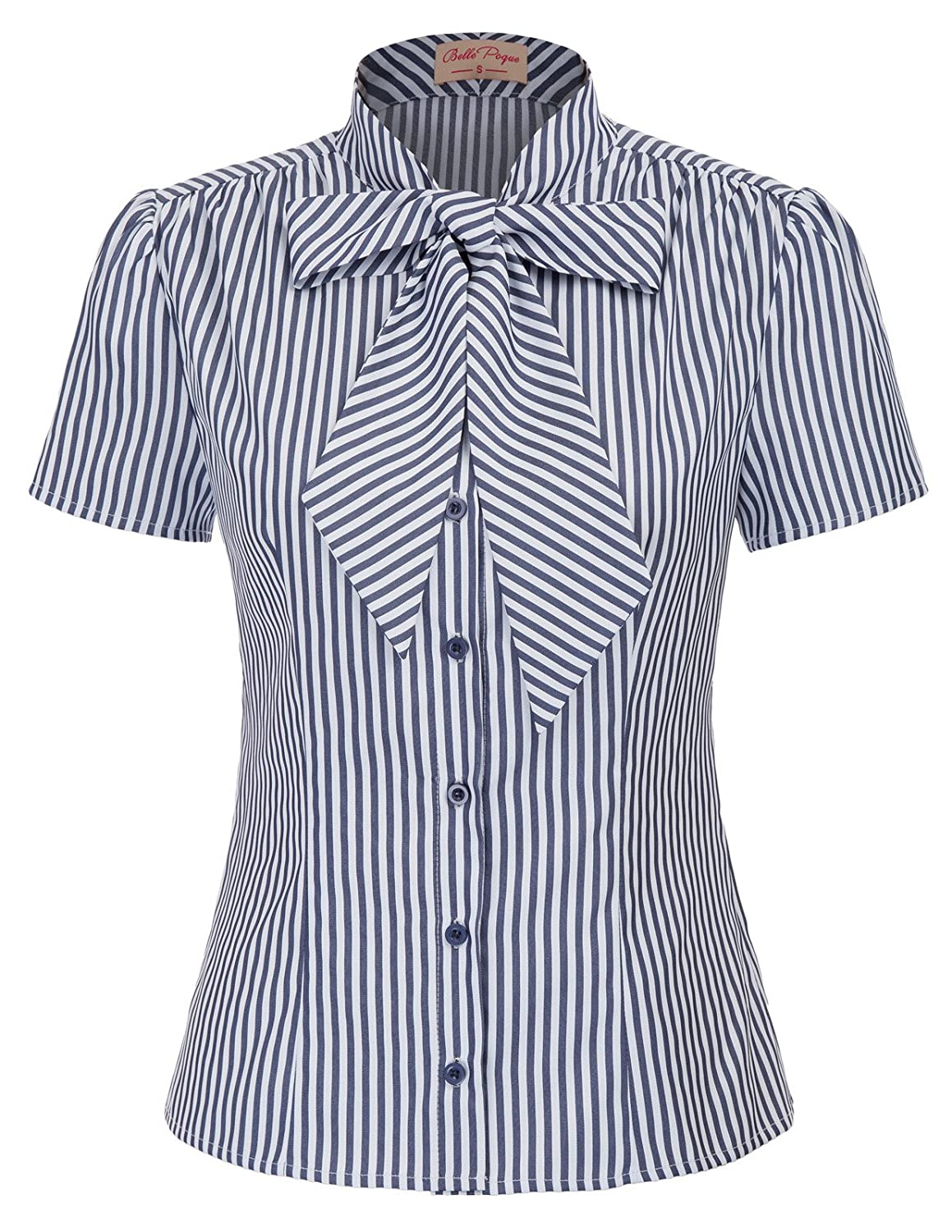 e0fe9d69b71952 Item Meterial: 50%Cotton+50%Polyester This button down blouse has a sweet  vintage bow tie stand collar with very pretty and flowy silhouette. This  shirt has ...