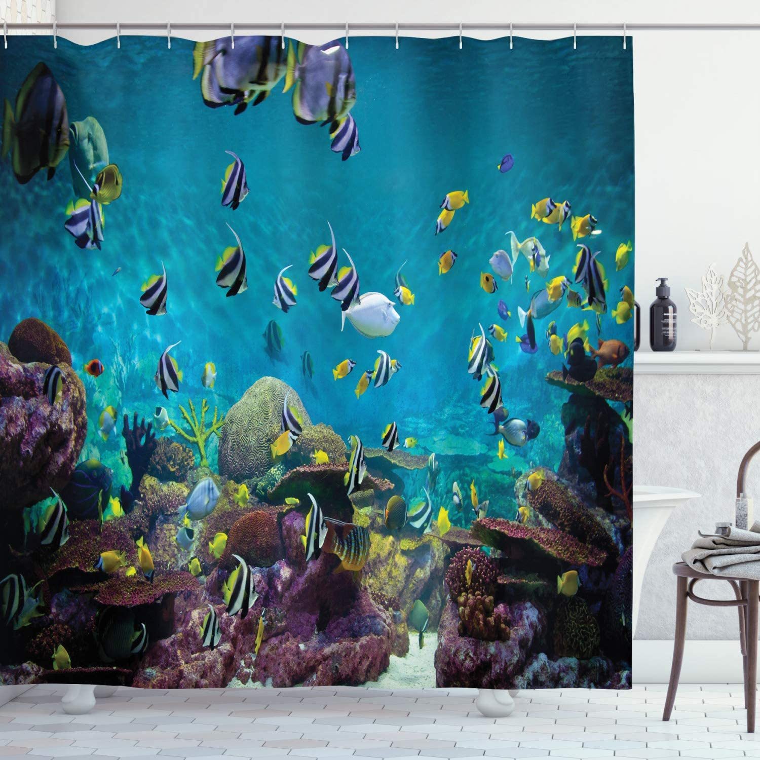 Ambesonne Ocean Shower Curtain, Untouched Wild Underwater Aquatic World Corals Exotic Fishes Seascape, Cloth Fabric Bathroom Decor Set with Hooks, 75