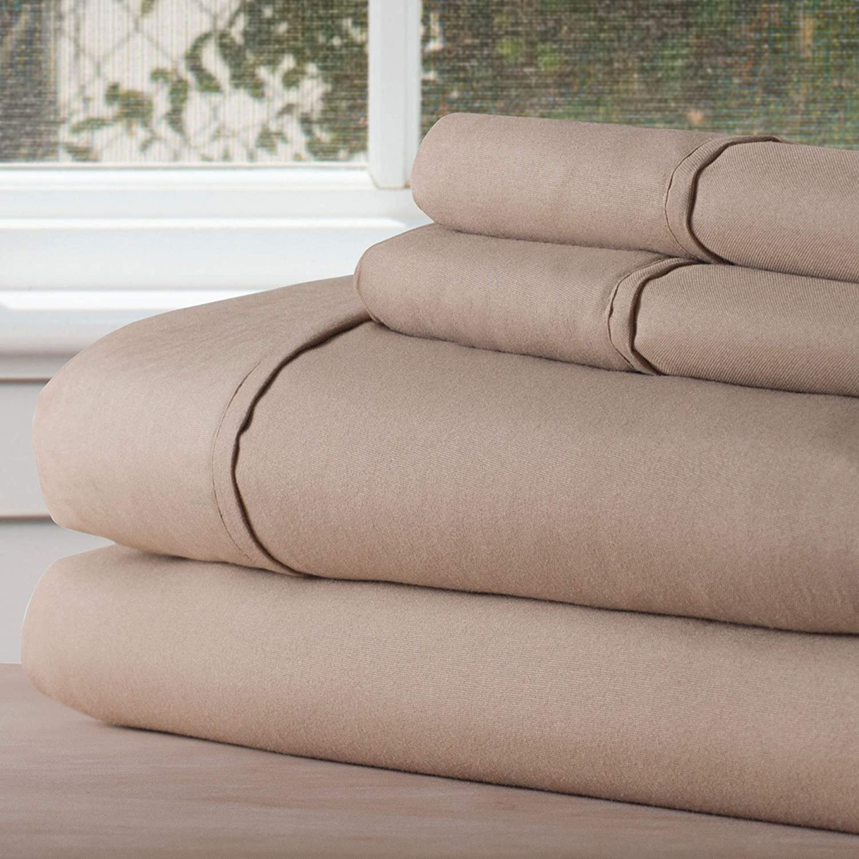 Lavish Home 1200 4-Piece Sheet Set, King, Taupe