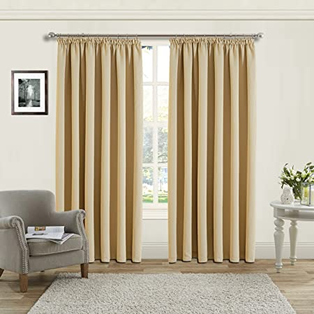 Aspire Homeware Pair Of Thermal Blackout Tap Top Curtains Pencil Pleat Insulated