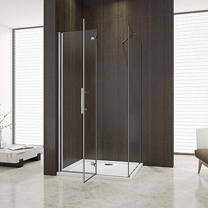 Aica - Mampara de ducha esquinera, puerta plegable tipo libro, pared lateral, plato de ducha: Amazon.es: Bricolaje y herramientas