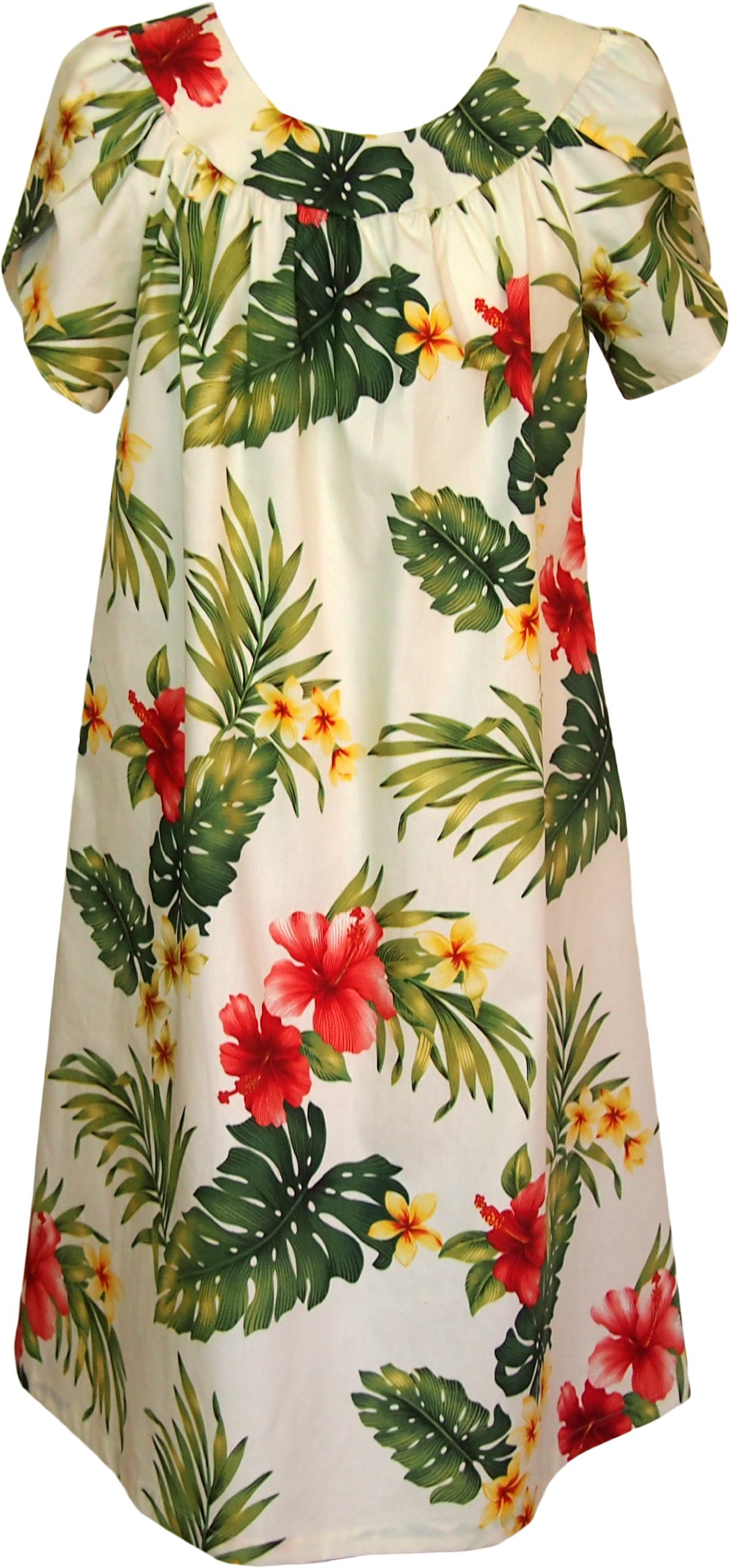 RJC Womens Tropical Summer Hibiscus Tea Length Muumuu Dress Beige 1X Plus