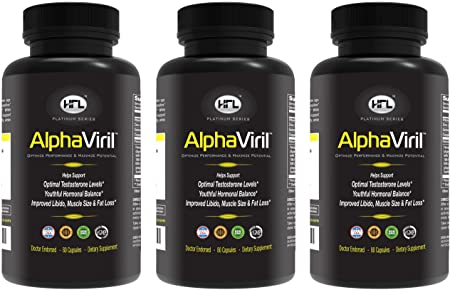 AlphaViril 3 Bottle Pack Natural Testosterone Booster, Increases Libido, Sex Drive, Strength, Energy, Builds Muscle for Men Women Made in USA Tongkat Ali Extract, Horny Goat Weed.