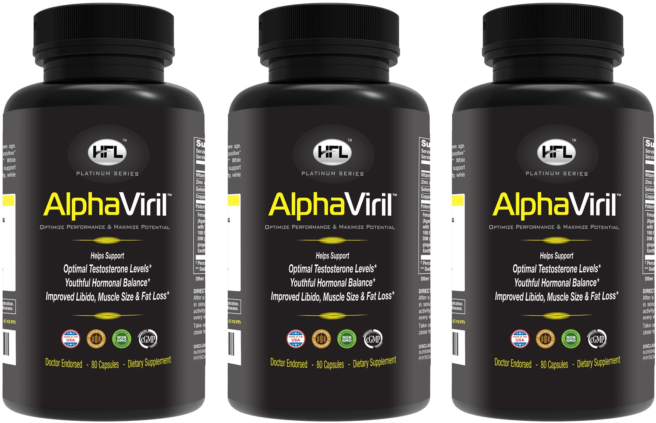 AlphaViril 3 Bottle Pack | Natural Testosterone Booster, Increases Libido, Sex Drive, Strength, Energy, Builds Muscle | for Men & Women | Made in USA | Tongkat Ali Extract, Horny Goat Weed.