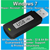 Windows 7 Reinstall Recovery Repair Restore Boot Fix USB | Home Premium Professional Basic Starter Enterprise 32 & 64 Bit Disk on Flash Drive | ALL Brands HP, Dell, etc. [Instructions & Support]