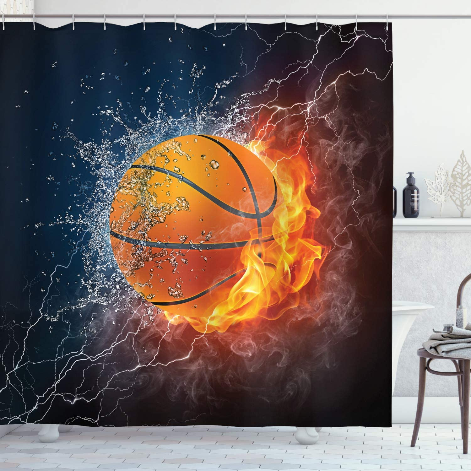 Ambesonne Sports Shower Curtain, Basketball Ball on Fire and Water Flame Splashing Thunder Lightning, Cloth Fabric Bathroom Decor Set with Hooks, 70