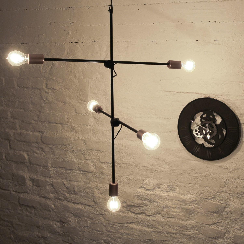 Minimalistische Industrielampe Vintage verstellbar 5xE27 Pendelleuchte Schwarz Esstisch Wohnzimmer