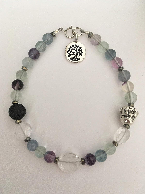 Rainbow Fluorite Gemstone//Lava Stone Tree of Life Essential Oil Diffuser Bracelet