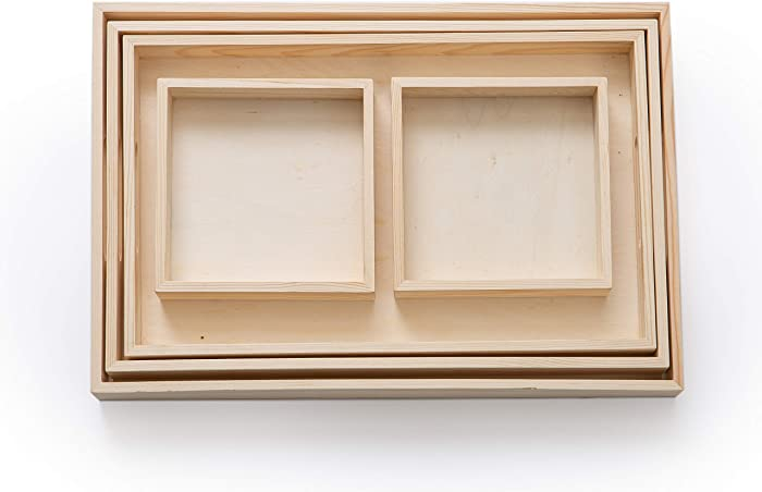 Serving Tray/Wooden Trays with Handles and Small Wood Boxes Set (Unfinished) | for Montessori Activity, Art/Crafts, Painting, Restaurant Food, tv Trays for Eating, Decorative, Coffee Table | 5 Pieces