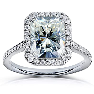 radiant cut moissanite engagement ring with diamond 3 ctw 14k white gold size 4 - Moissanite Wedding Rings