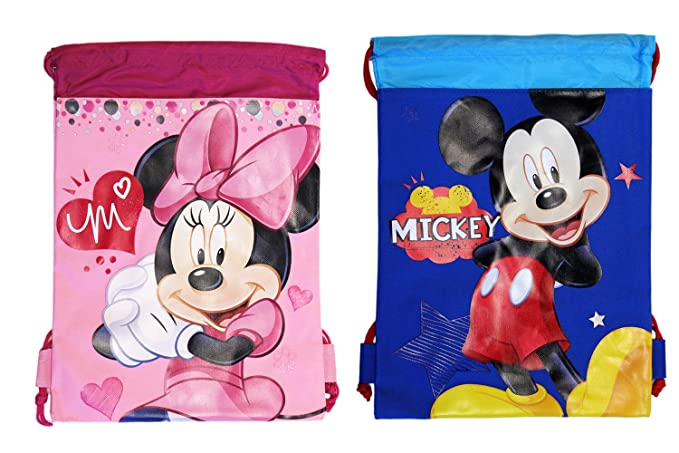 ff0c2e659b4 Image Unavailable. Image not available for. Color  (2ct) Mickey   Minnie Mouse  Drawstring Backpack ...