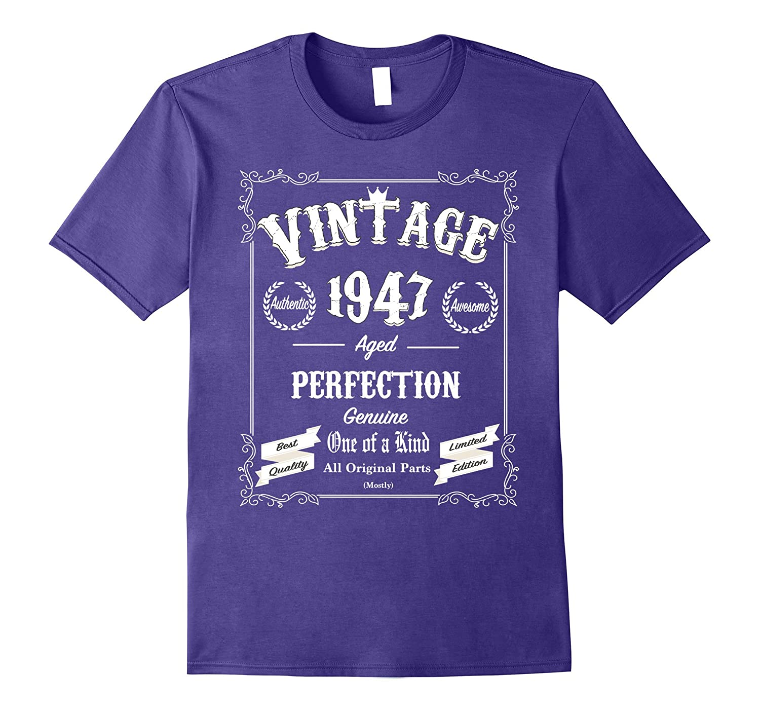 70th Birthday Gifts Vintage TShirt 1947 All Original Parts-CL