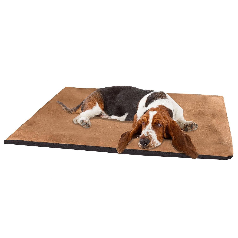 PETMAKER 2-Inch Orthopedic Foam Pet Bed, Jumbo, Suede Camel