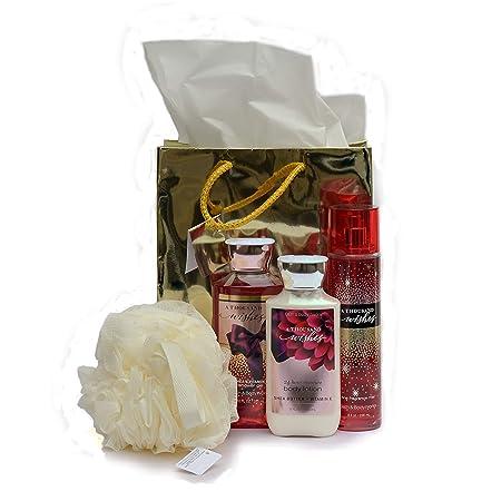 Bath Body Works A Thousand Wishes Gift Bag Set, Shower Gel, Body Lotion Fragrance Mist Shower Sponge