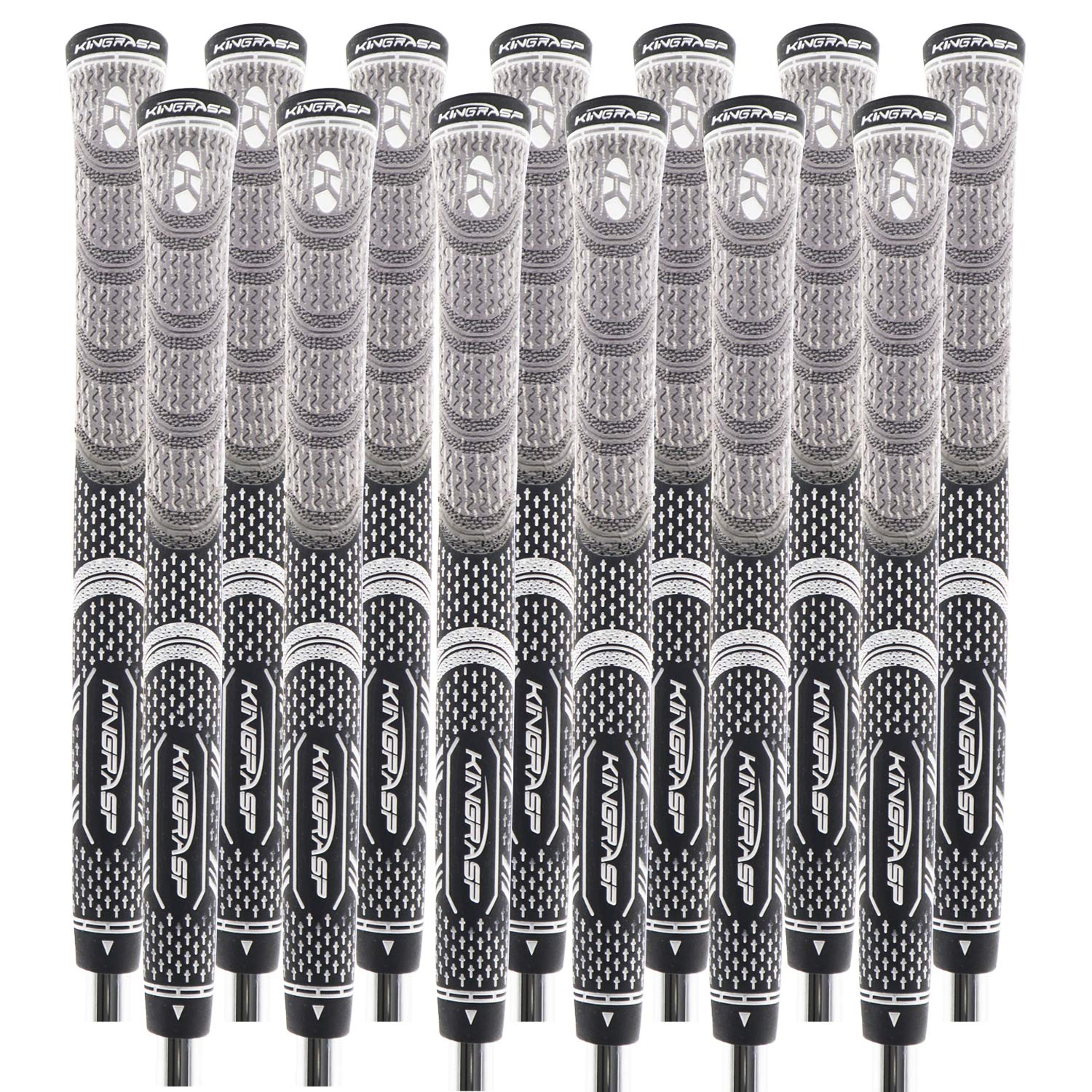 KINGRASP Multi Compound Golf Grips Set of 13 Golf Grip Standard midsize Size - All Weather Rubber Golf Club Grips Ideal for Clubs Wedges Drivers Irons Hybrids (Gray/Black, Standard)