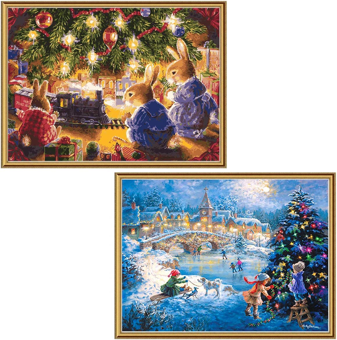 """Ginfonr 2 Pack 5D Diamond Painting Christmas House and Country Full Drill Paint with Diamonds Art, DIY Rabbit and Children Rhinestone by Number Kits Cross Stitch Wall Decor 12""""x16"""""""