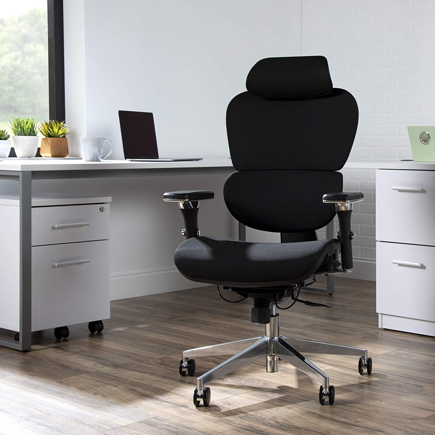 OFM Core Collection Ergo Fabric Upholstered Office Chair with Optional Headrest, Lumbar Support, in Black