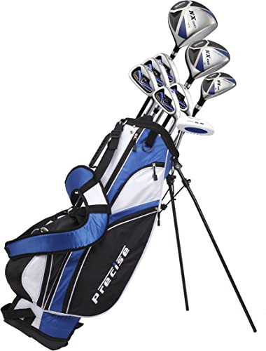 Precise NX460 Men s Complete Golf Clubs Package Set Includes Driver, S.S. Fairway, S.S. Hybrid, 5 Stainless Irons, Putter, Stand Bag, 3 H C s Right Hand