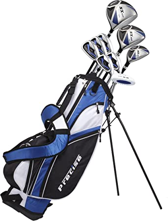 Precise NX460 Men's Complete Golf Clubs Package Set Includes Driver, S.S. Fairway, S.S. Hybrid, 5 Stainless Irons, Putter, Stand Bag, 3 H/C's Right Hand best disc golf set